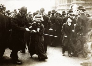 A Suffragette struggling with a policeman on Black Friday 18 November 1910.  (Museum of London Prints)